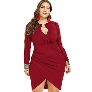 Keyhole Neck Plus Size Slit Bodycon Dress - red wine