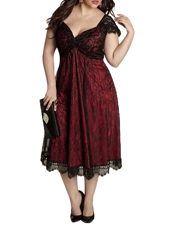 Plus Size Sweetheart Neck Lace Dress - wine red