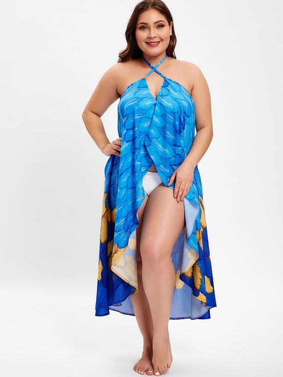 Feather Print Halter Neck Plus Size Cover Up