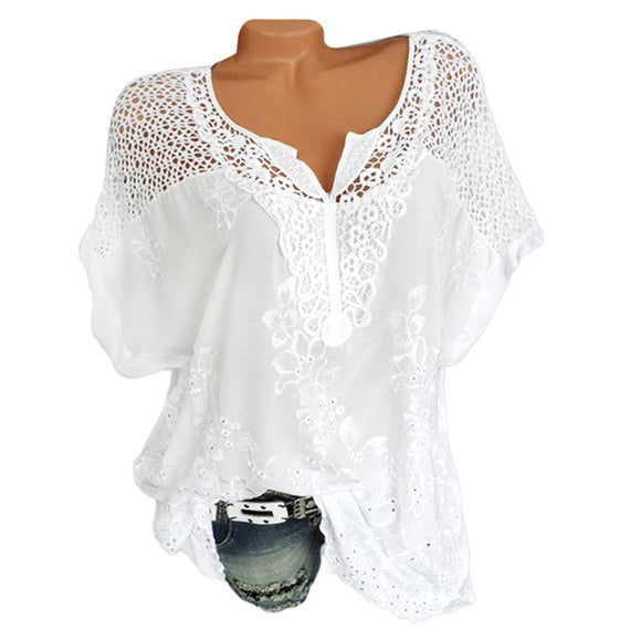 Plus Size Crochet Embroidery Blouse