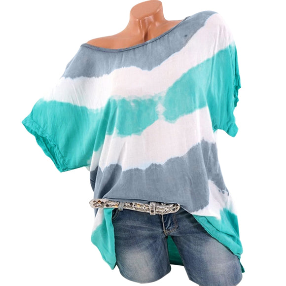 Plus Size Color Blocking Batwing Sleeve T-shirt - Celeste