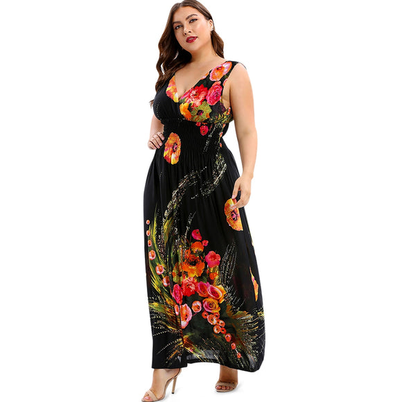Floral Shirred Maxi Plus Size Dress - black