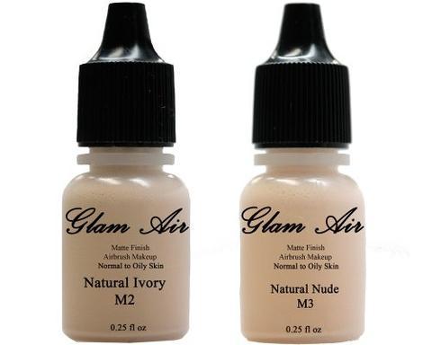 Glam Air Airbrush Makeup Foundations Set Two M2 Natural Ivory & M3 Natural Nude for Flawless Looking Skin Matte Finish For Normal to Oily Skin (Water Based)0.25oz Bottles