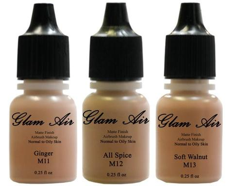 Set of Three (3) Airbrush Makeup Foundations Matte M11 Ginger, M12 All Spice, M13 Soft Walnut Water-based Makeup Lasting All Day 0.25 Oz Bottle By Glam Air