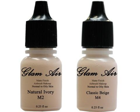 Glam Air Airbrush Makeup Foundations Set Two  M2 Natural Ivory and M4 Classic Beige for Flawless Looking Skin Matte Finish For Normal to Oily Skin (Water Based)0.25oz Bottles