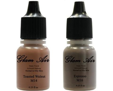 Glam Air Airbrush Makeup Foundations Set Two   M14 Toasted Walnut and M16 Espresso Summer Bronze  for Flawless Looking Skin Matte Finish For Normal to Oily Skin (Water Based)0.25oz Bottles