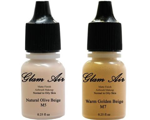 Glam Air Airbrush Makeup Foundations Set Two M5 Natural Olive Beige and M7 Warm Golden Beige for Flawless Looking Skin Matte Finish For Normal to Oily Skin (Water Based)0.25oz Bottles