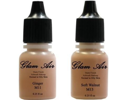Glam Air Airbrush Makeup Foundations Set Two M12 All Spice and M14 Toasted Walnut for Flawless Looking Skin Matte Finish For Normal to Oily Skin (Water Based)0.25oz Bottles