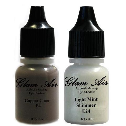 Set of Two (2) Shades of Glam Air Airbrush Eye Shadow Makeup E4 Copper Cocoa and E24 Light Mint Shimmer Water-based Formula Last All Day (For All Skin Types) 0.25oz Bottles