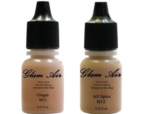 Glam Air Airbrush Makeup Foundations Set Two  M11 Ginger  And M12 All Spice  for Flawless Looking Skin Matte Finish For Normal to Oily Skin (Water Based)0.25oz Bottles