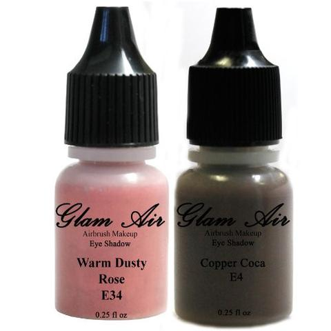 Set of Two (2) Shades of Glam Air Airbrush Eye Shadow Makeup E4 Copper Cocoa and E34 Warm Dusty Rose Water-based Formula Last All Day (For All Skin Types) 0.25oz Bottles