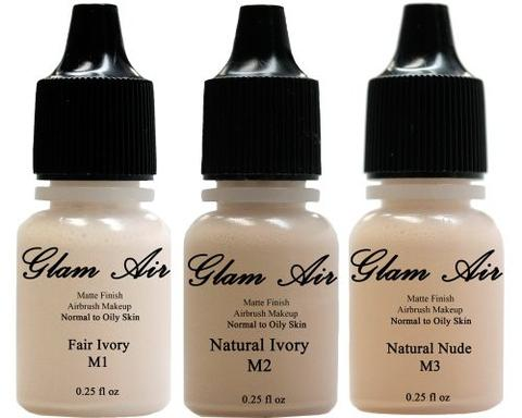 Set of Three (3) Airbrush Makeup Foundation Matte M1 Fair Ivory, M2 Natural Ivory, M3 Natural Nude Water-based Makeup Lasting All Day 0.25 Oz Bottle By Glam Air