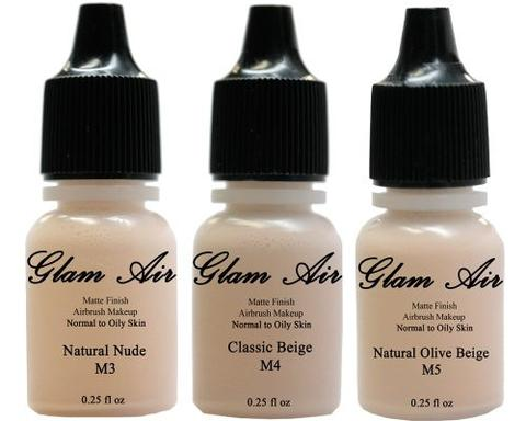 Glam Air Airbrush Water-based Foundation in Set of Three (3) Assorted Light Matte Shades (For Normal to Oily Light/Fair Skin)M3,M4,M5