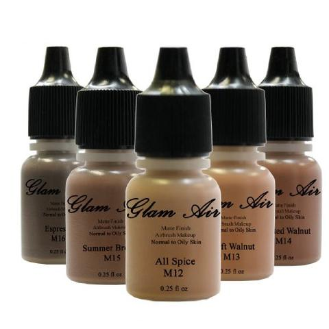 Glam Air Airbrush Water-based Foundation in Set of 5 Assorted Dark Matte Shades (For Normal to Oily Dark Skin)