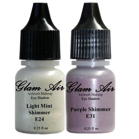 Set of Two (2) Shades of Glam Air Airbrush Eye Shadow Makeup E24 Light Mint Shimmer and E31 Purple Shimmer Water-based Formula Last All Day (For All Skin Types) 0.25oz Bottles