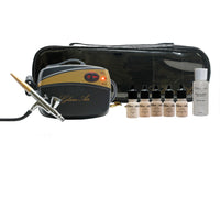 Glam Air Airbrush Makeup Foundation System Kit with 5 Shades of Foundation and Blush (Dark)