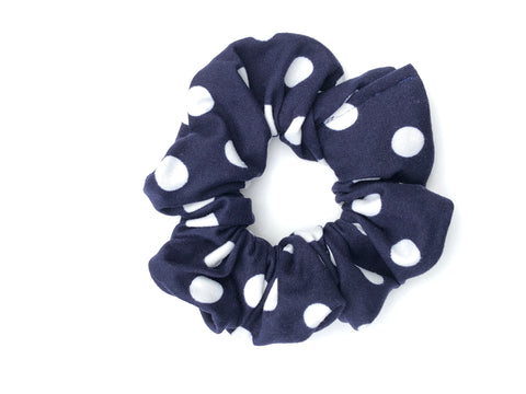 White Polka Dots on Navy Scrunchie