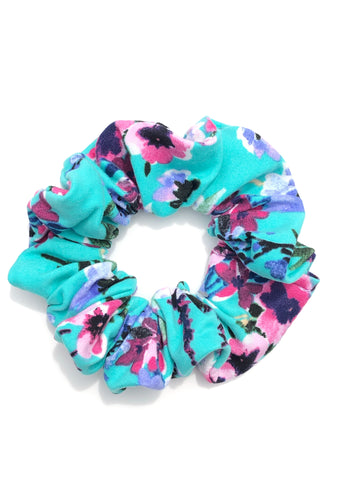 Pink and Blue Floral on Aqua Scrunchie