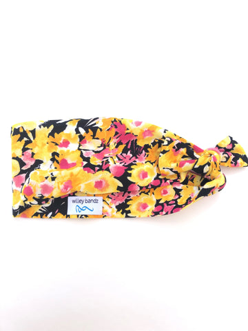 "Yellow and Pink Floral 3"" Headband"