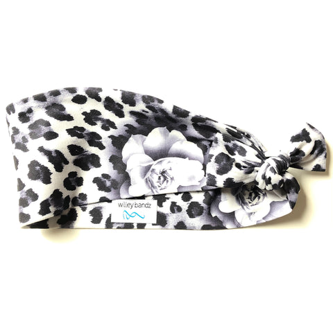 Black and White Leopard Floral 3-inch headband