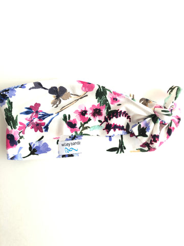 Pink and Blue Floral on White 3-inch headband