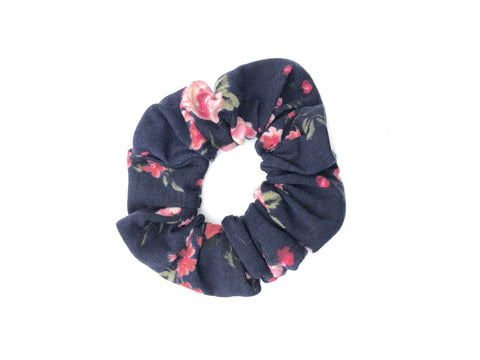 Roses on Dark Navy Scrunchie