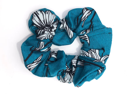 Black and White Floral on Teal Scrunchie