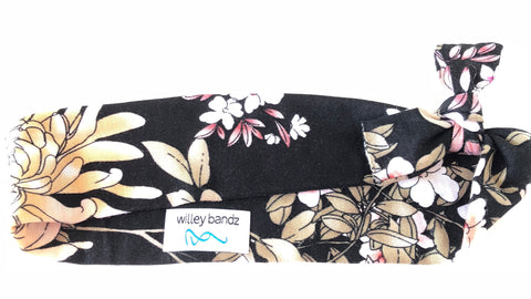 Pink and Caramel Floral on Black 2-inch headband