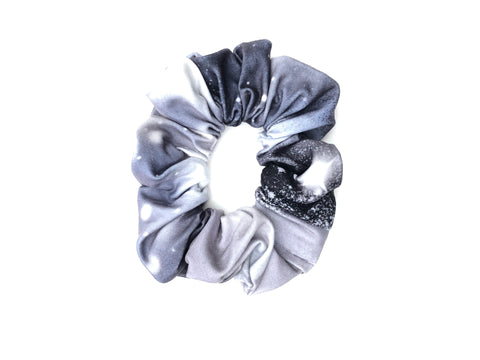 Gray and White Star Burst Scrunchie