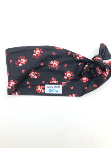 "Red and Orange Flowers on Black 3"" Headband"
