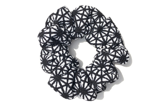 Black and White Geometric Scrunchie