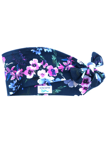 Pink and Purple Floral on Black 3-inch headband