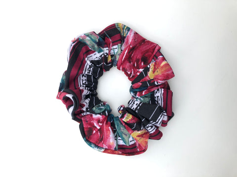 Floral Stripe Scrunchie