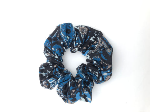 Blue and Gray Paisley Scrunchie