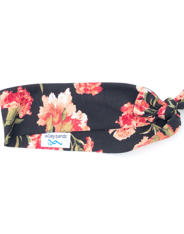 Shades of Coral Floral on Black 2-inch headband