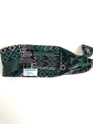 Green and White Doodles on Black 2-inch headband