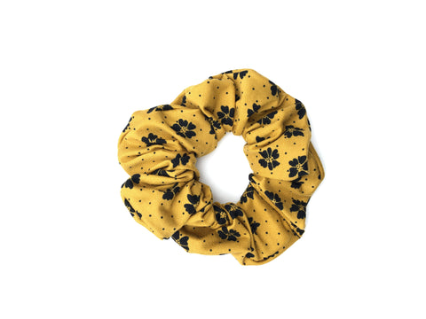 Mustard and Black Floral Scrunchie