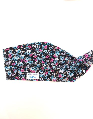 Pink and Blue Flowers on Black 3-inch Headband