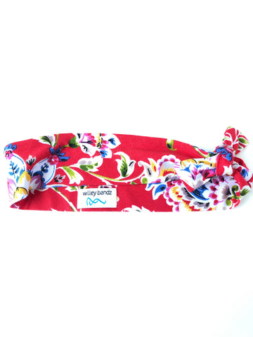Colorful Floral on Red 2-inch headband