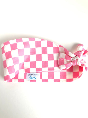 Pink and White Check 3-inch headband