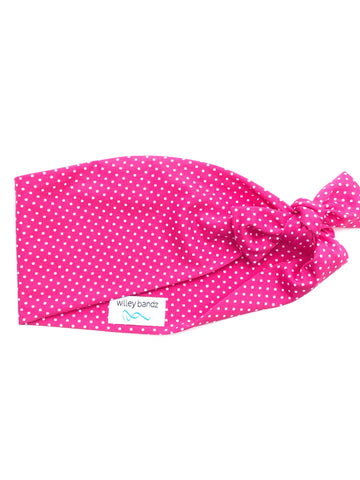 UPCYCLED Pink Dot Wide Headband *Slippery fabric