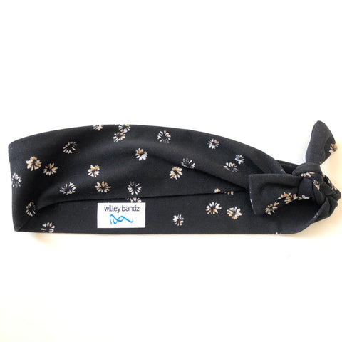 Daisies on Black 2-inch headband