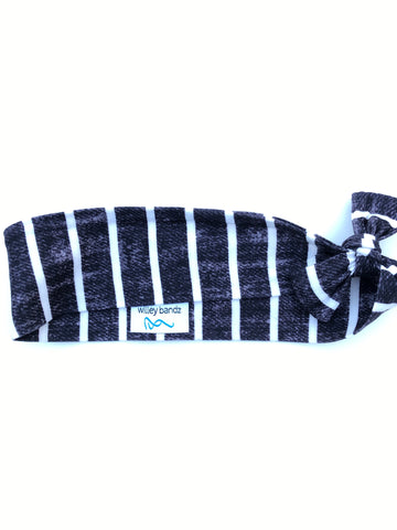 Distressed Black and White Stripe 2-inch headband