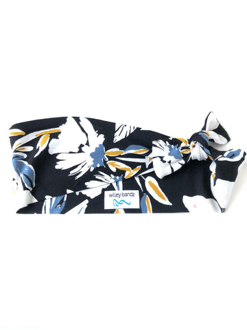 Black and White Floral with a Pop of Color 3-inch headband