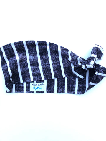 Distressed Black and White Stripe 3-inch headband