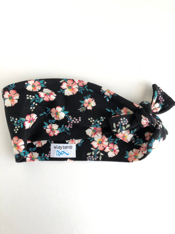 Sweet Floral on Black 3-inch headband