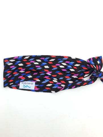 Colorful Streaks on Black 2-inch headband