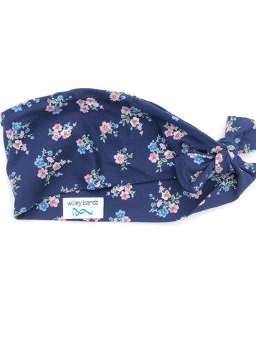 Pink and Blue Floral on Navy 3-inch headband