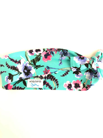 Pink and Blue Floral on Aqua 2-inch headband