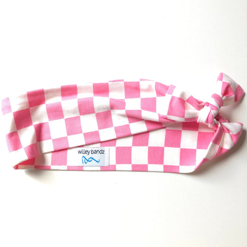 Pink and White Check 2-inch headband
